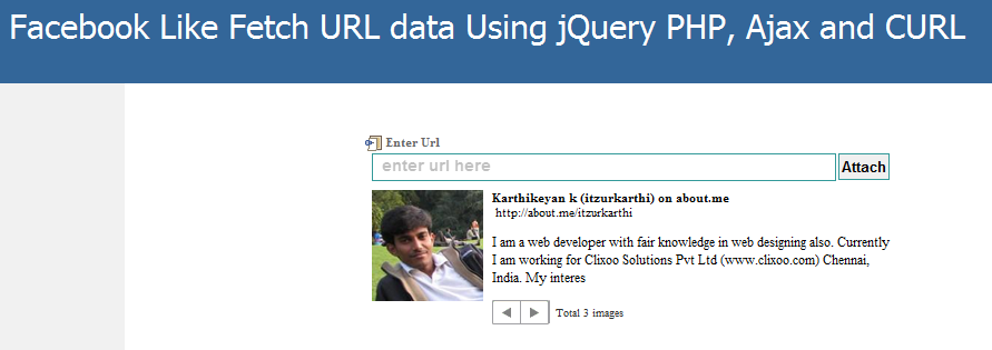 Facebook like fetch url data using PHP Curl, Jquery and Ajax