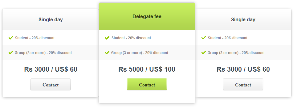 Free pricing tables using jquery css for Table design with css