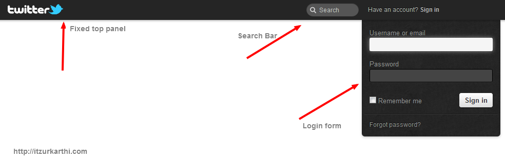 Twitter like login form, search box, top panel using Jquery and CSS