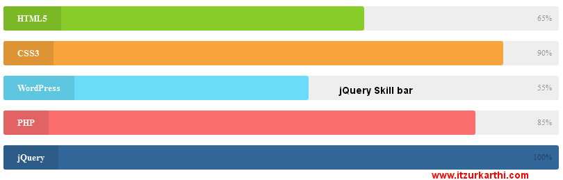Animated Skill Bar and Progress Bar with jQuery & CSS3