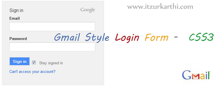 Gmail Style Login Form using CSS3