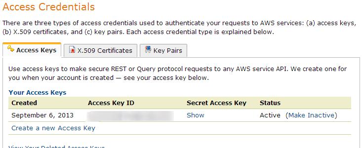 Create Access Credentials in Amazon S3