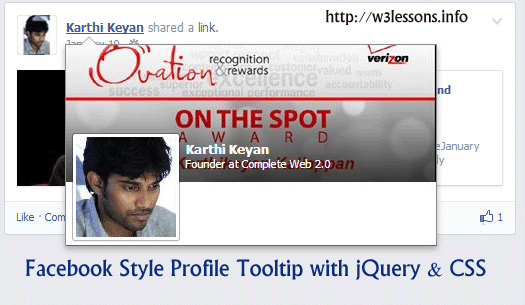 Facebook Style Profile Tooltip with add as friend button