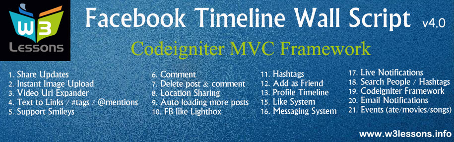 Facebook Wall Script 4 0 with PHP Codeigniter MVC Framework