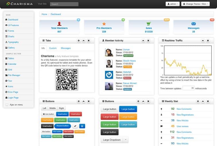Charisma Responsive Bootstrap Admin Template