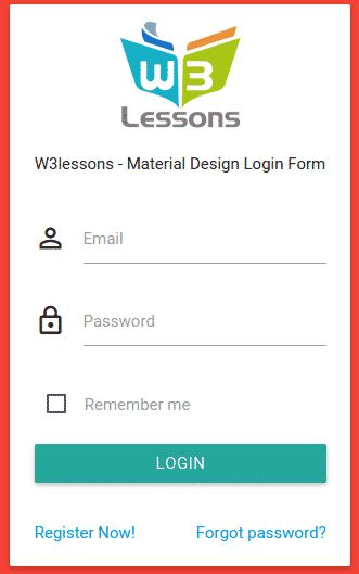 Login form using Material Design