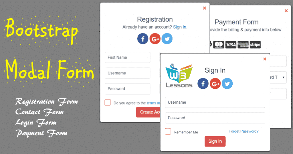 Free Bootstrap Modal Form with Validation - Login, SignUp