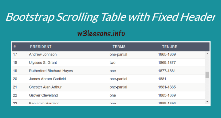 Bootstrap Fixed Table Header using CSS - W3lessons