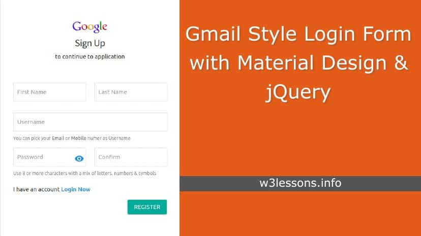 Gmail Style Login and Registration Page using Material